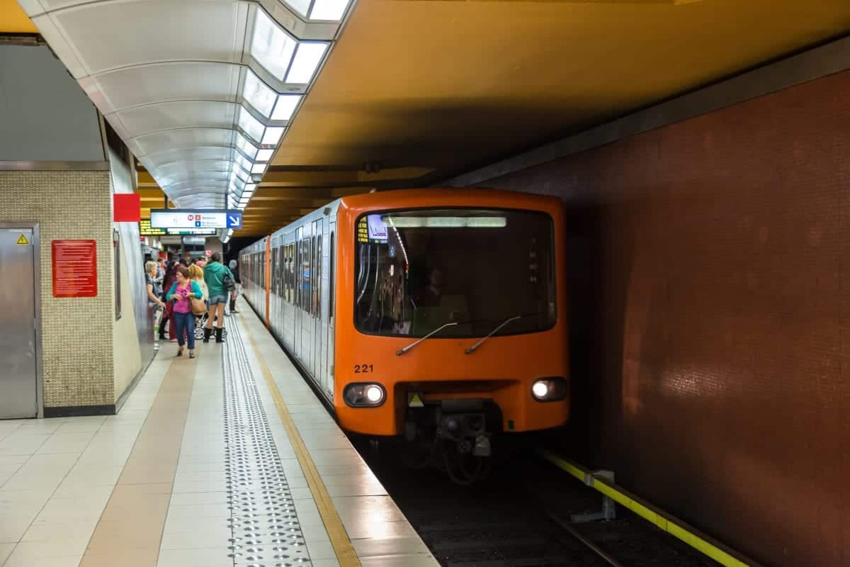 Old Orange Metro At Station In Brussels