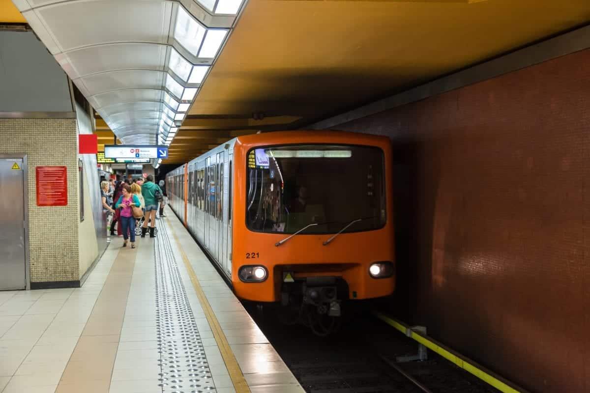 Old Orange Metro At Station In Brussels