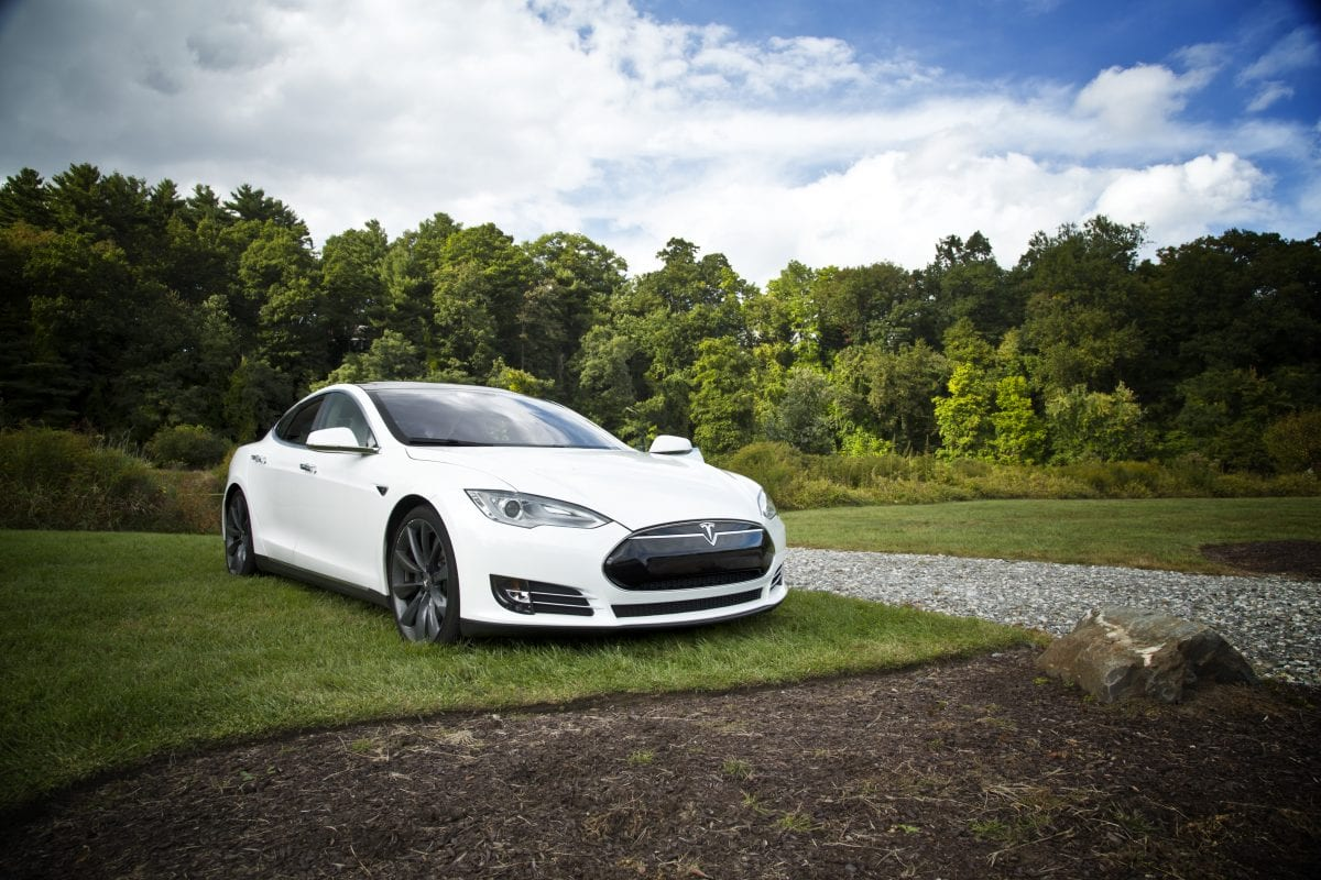 Tesla Model S Surrounded By Green