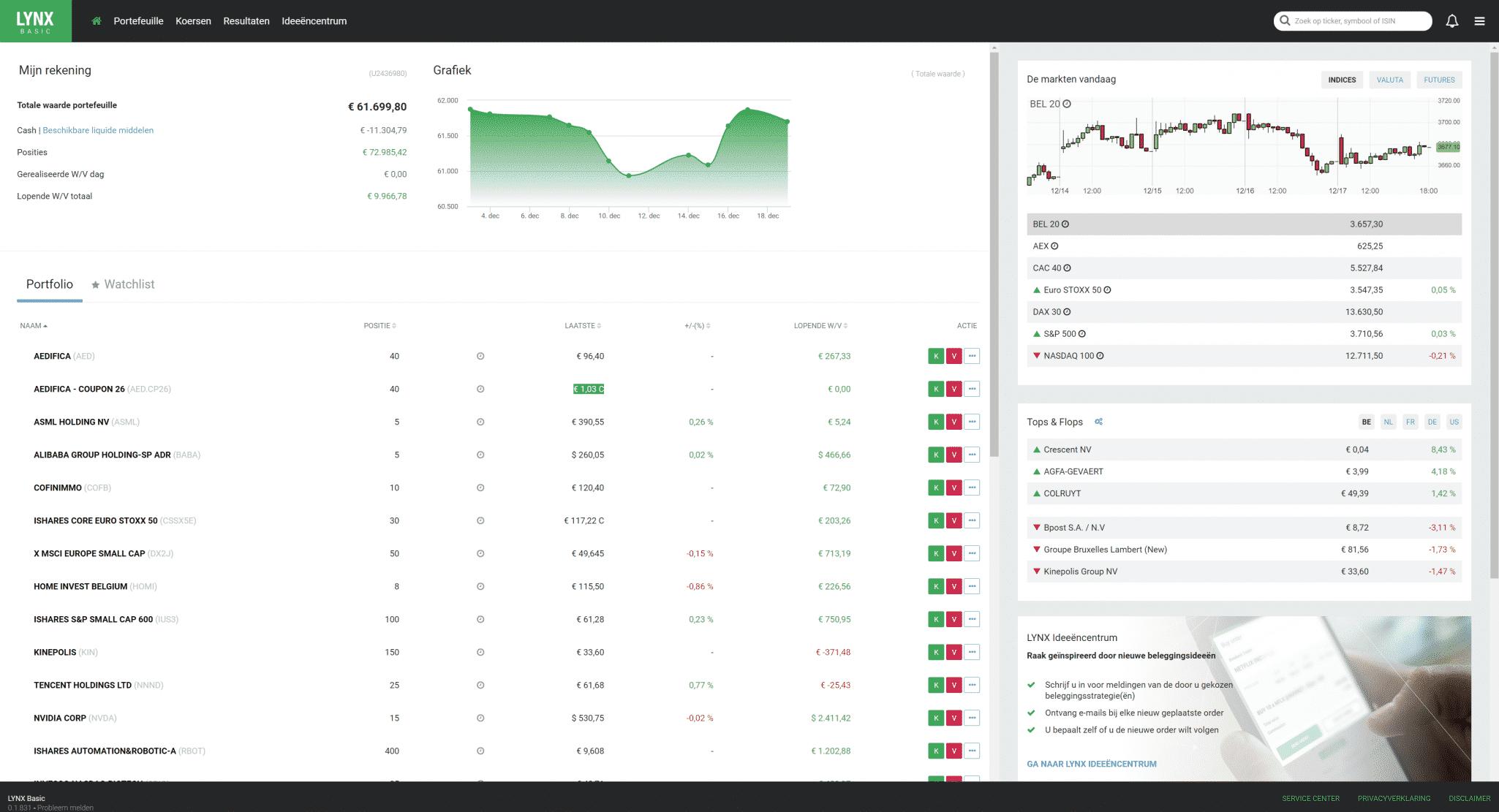 Home screen of Lynx basic