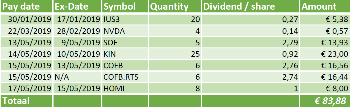 Overview of my dividend payout up until May 2019