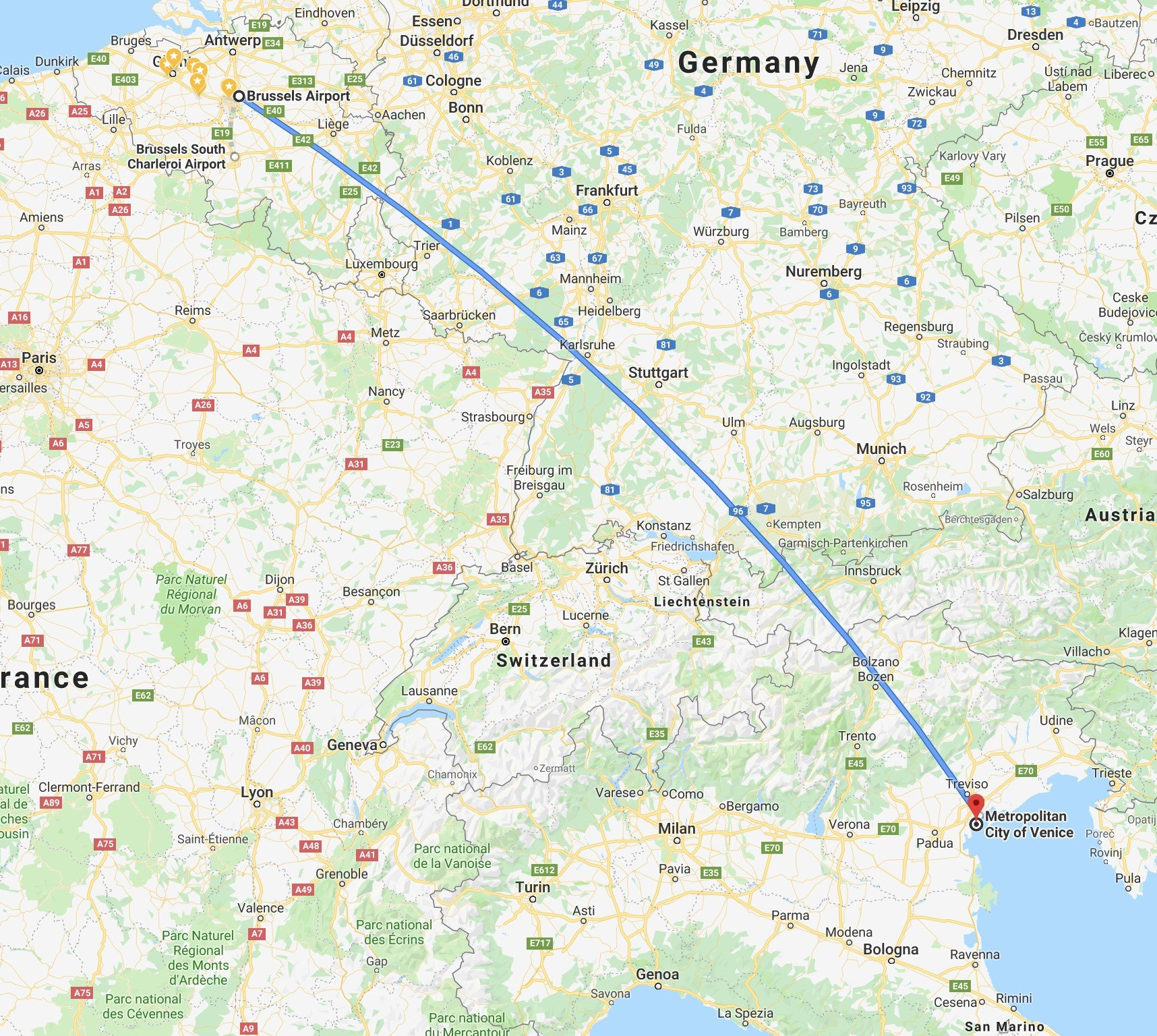 Flying From Brussels To Venice