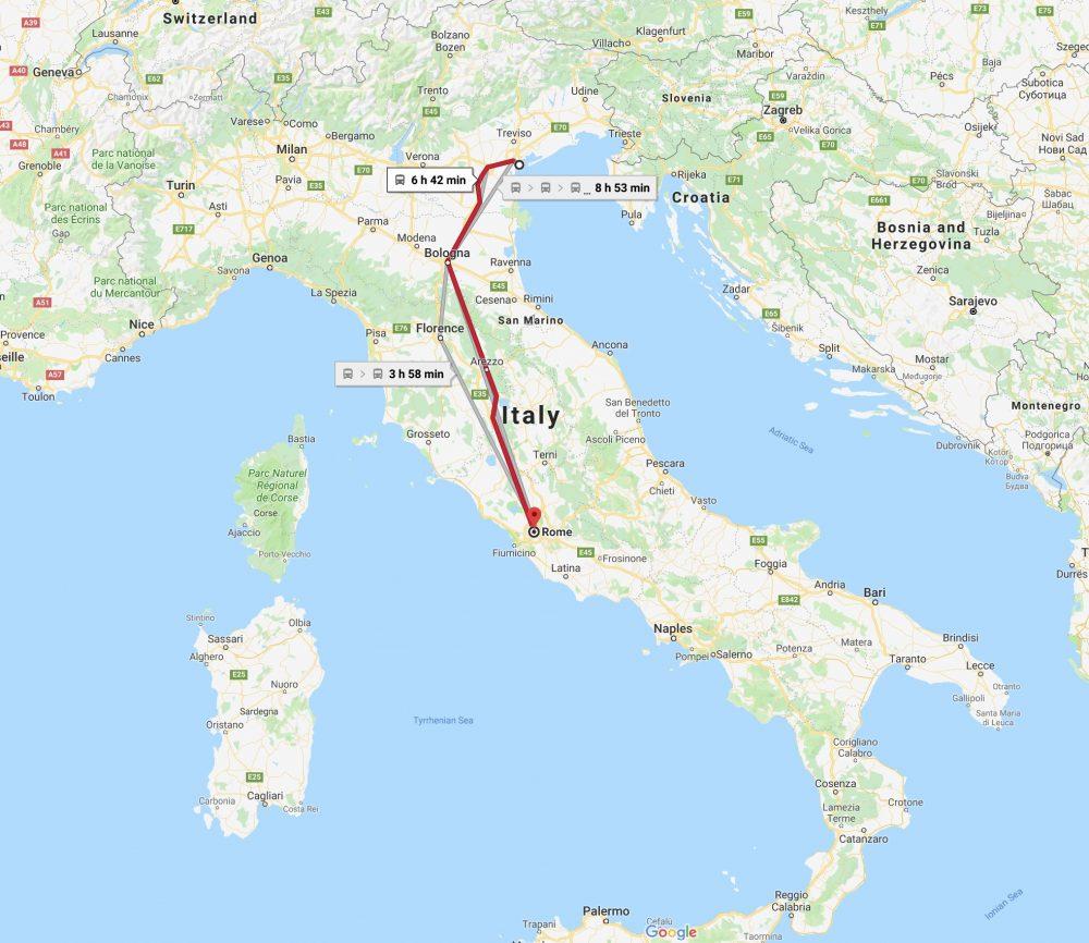 Train Ride From Venice Train Station To Rome Termini