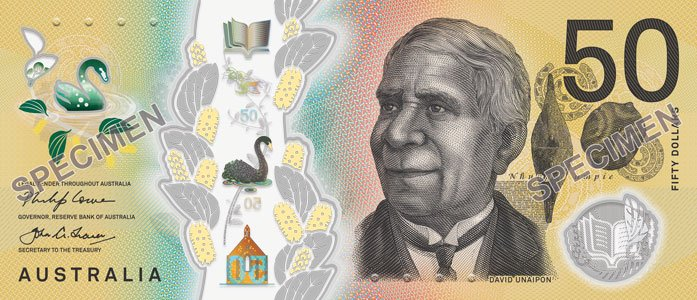 New Front Of The Australian 50 Bank Note