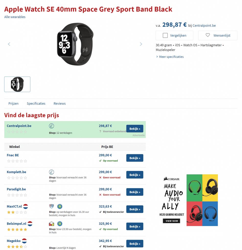 Price comparison of Apple Watch on Hardware.info