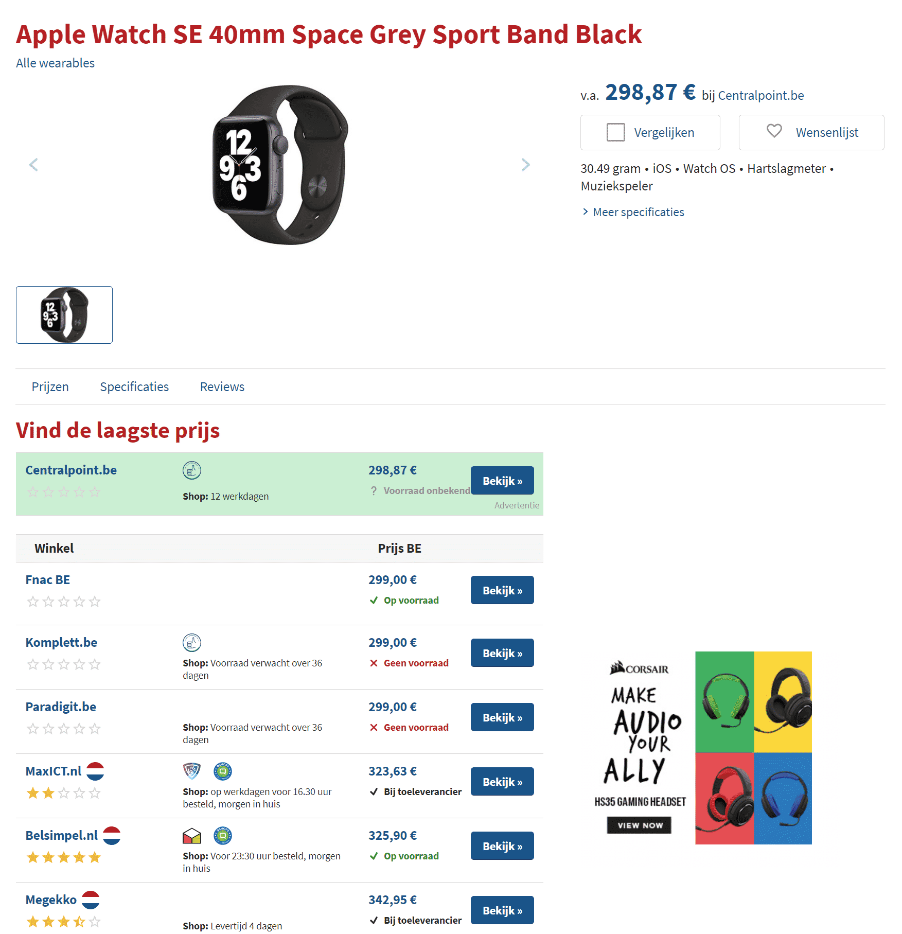 Price Comparison Of Apple Watch On Hardware.info